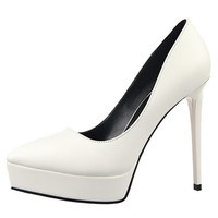 Faux Leather Pointed Toe Stiletto Heel Pump