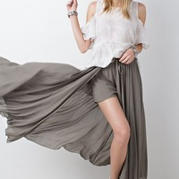 Olive Two Layer Maxi Skirt & Shorts
