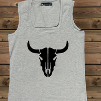 Women's Tank Bull on a U Ladies Gray Tank,Screen Printing Tank,Women's Tank,Bull Tank,Size S, M, L