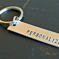 Personalized Keychain | Customize Your Quote Custom Gift | Hand Stamped Aluminum Key Chain