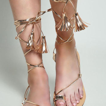 Rose Gold Gladiator Lace Up Strappy Sandals