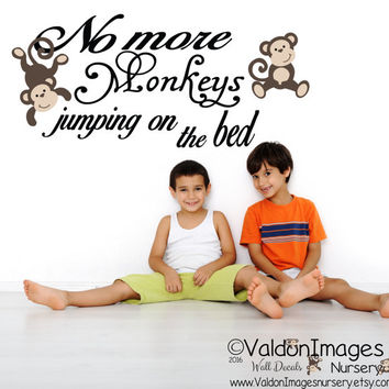 Monkeys on the bed wall decal, nursery wall decal, nursery decor, nursery decals, nursey rhyme decal, wall decals for kids, jumping monkeys