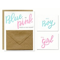Blue or Pink Gender Reveal Cards