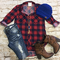 What I like about you Plaid Flannel Top: Red/Blue