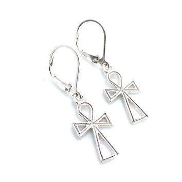 Cross Earrings, Egyptian Ankh, Sterling Silver, Symbol of Life, Leverback, Dangle