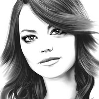 Emma Stone art PRINT, minimalist digital portrait poster, GICLEE PRINT, digital painting, sexy youn actress, black white wall art poster