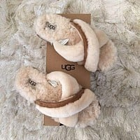 UGG hot new product plush cross slippers plush Boots shoes