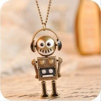 Retro Music Headset Robot Necklace,jewelry Wholesale