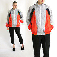 Vintage 80's 90's Reebok Grey Black Red Lightweight Sport Track Jacket, Reebok Windbreaker Hoodie