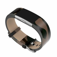 For Fitbit charge 2 leather bands,Accessories Leather Bands strap for Fitbit Charge 2,Fits 5.9-8.1 inch army camouflage color