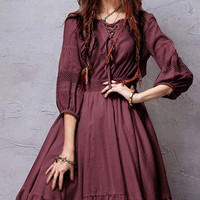 Burgundy Vintage Lace-Up Flounce Midi Dress