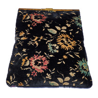 Vintage Tapestry Clutch, Carpet Bag, Folding Purse, Swivel Clasp, 50s, 60s, Black Floral