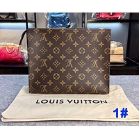 LV Louis Vuitton Fashion Makeup Bags Handbag Men's Business Bag Louis Vuitton Classic Clutch Bag