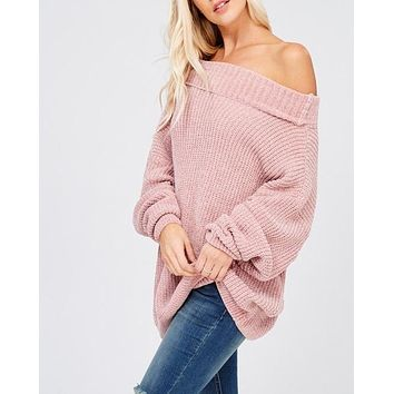 Chenille Turtleneck Knitted Pullover Sweater in Twig