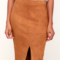 Total Allure Camel Suede Pencil Skirt