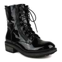 Womens Ankle BootsLace Up CombatCasual Shoes Black