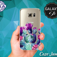 Cactus Watercolor Colors Purple Blue Tumblr Cacti Cute Case for Clear Rubber Samsung Galaxy S6 Samsung Galaxy S6 Edge Galaxy S7 and S7 Edge
