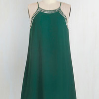 20s Mid-length Spaghetti Straps Shift Gallery Curator Dress in Jade by ModCloth
