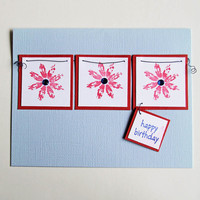 Blue Birthday Card With Three Red Flowers, Happy Birthday, Handmade Notecard, Birthday Wishes and Greetings, Stamped Birthday Greeting Card