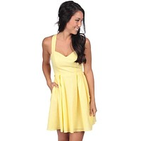 The Livingston Solid Seersucker Dress in Yellow by Lauren James