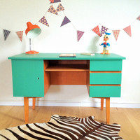 Vintage Desk, mid century modern, Minister style, hand-painted, color green, model Hippolyte