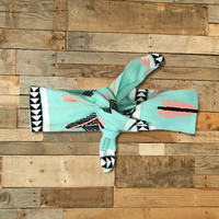 Mint Feather Knotted Headband