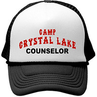 CRYSTAL LAKE COUNSELOR - funny 80s horror movie Mesh Trucker Cap Hat, Black