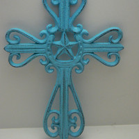 Horseshoe and Star Cross Cast Iron Blue Shabby Chic Distressed Country Star and Horse Shoe Center Wall Decor Ornate Wall Cross