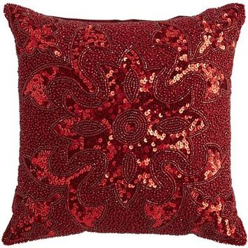 Beaded Pillow - Red