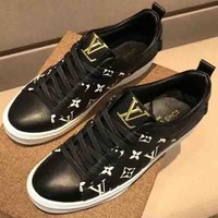 Louis Vuitton LV New Fashion Print Men Single Shoes Black