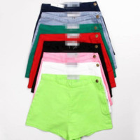 FREE SHIPPING  Autumn and winter new casual fashion candy color side zipper high waist button shorts