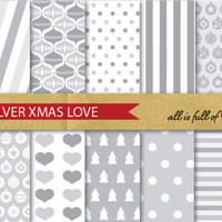 SILVER XMAS Digital Paper Pack CHRISTMAS Scrapbooking wrapping paper Instant Download