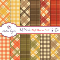 "Fall Plaids Digital Paper Pack 12""x12"", Instant Download, Commercial Use, Printable 300 dpi, Thanksgiving Backgrounds"