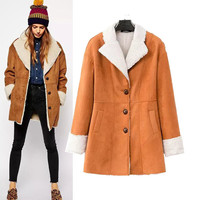 Faux Long Sleeve Trench Coat with Button Pocket