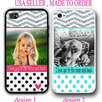 PERSONALIZED PHOTO IMAGE BLACK POLKA DOTS CHEVRON CASE FOR IPHONE 7 6S 6 SE 5S 5
