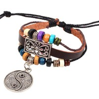 Yin and Yang Silver Dangling Charm on Handmade Leather Infinity Bracelet with Bead and Silver Accents