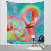 Color Outside the Lines (Neon Flamingo Remix) Wall Tapestry by Soaring Anchor Designs