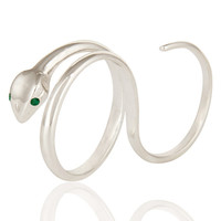 Emerald Gemstone High Polished Sterling Silver Two Finger Snake Adjustable Ring