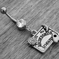 Ouija Board Belly Button Ring Diamond Belly Ring Navel Piercing Stainless Steel Body Jewelry Gothic Goth Witchcraft Occult Witch Craft