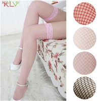 Hot Brand 2016 Solid Color Fashion Sexy Lingerie Ladies Lace Fishnet Thigh High Women Stockings