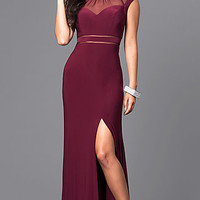 Merlot Red Long Formal Dress with Cap Sleeves
