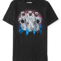 Aeropostale Mens We Love Fine Pluto Pugs Graphic T-Shirt - Black,