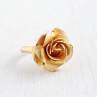 Vintage Flower Ring - Mid Century Hallmarked C&C Clark and Coombs Gold Filled Size 6 3/4 Jewelry / Floral Statement