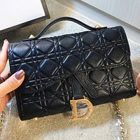 Bunchsun Dior New fashion leather shoulder bag crossbody bag handbag Black