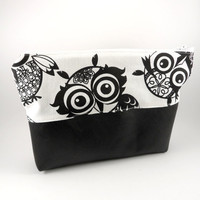 Folk Owl Makeup Bag in Black and White, Vegan leather bottom, Large, Travel, Lined, Cosmetics