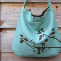 Hemp Bag with Songbird with Organic Cotton Lining - Turquoise Blue