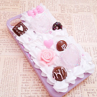 Purple iPhone 4/4s Case - Pastel Lolita - Kawaii Decoden Phone Case - Sweets Deco - Glitter Hearts, Candy, Bow, Flower - Whipped Cream