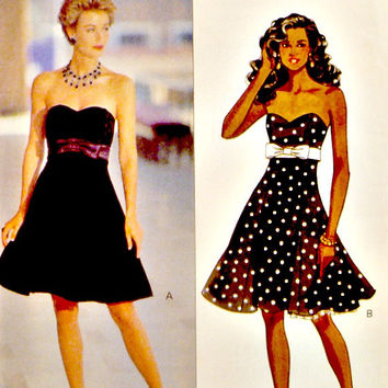 Strapless Party Evening Dress Pattern Sweetheart Bustline Attached Petticoat Vintage 90s Butterick 5790 Sewing Patterns Size 6 8 10 Uncut
