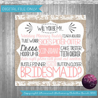 """Bridesmaid Proposal Cards - """"Burlap and Lace"""" (Printable File Only); Burlap & Lace; Ask Bridesmaid; Be My Bridesmaid Be In My Wedding"""