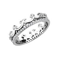 The Crown - Women's Stainless Steel Crown Shaped Ring With Clear CZ Stones